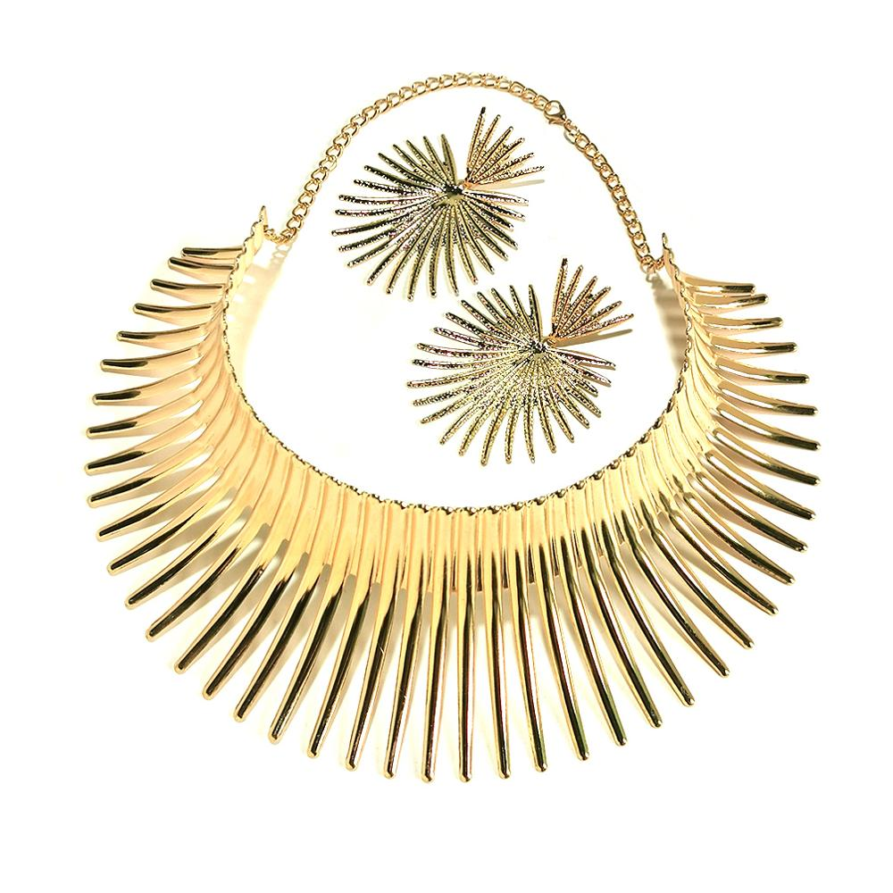 Africa Necklaces Jewelry Set Gold Color Metal Big Exaggerated Torque Choker Necklace Earrings Set Jewelry Steampunk Party UKMOC 6