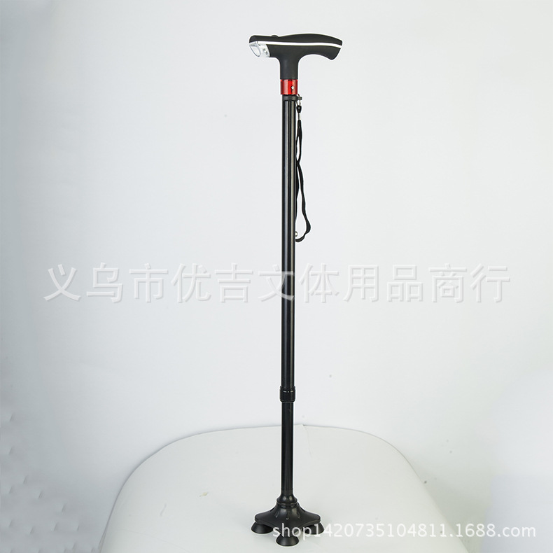 Aluminium Alloy Ten Stalls Extendable Accommodation Zone Smart Crutches LED Headlight Alarm System Elderly Stick Direct Selling