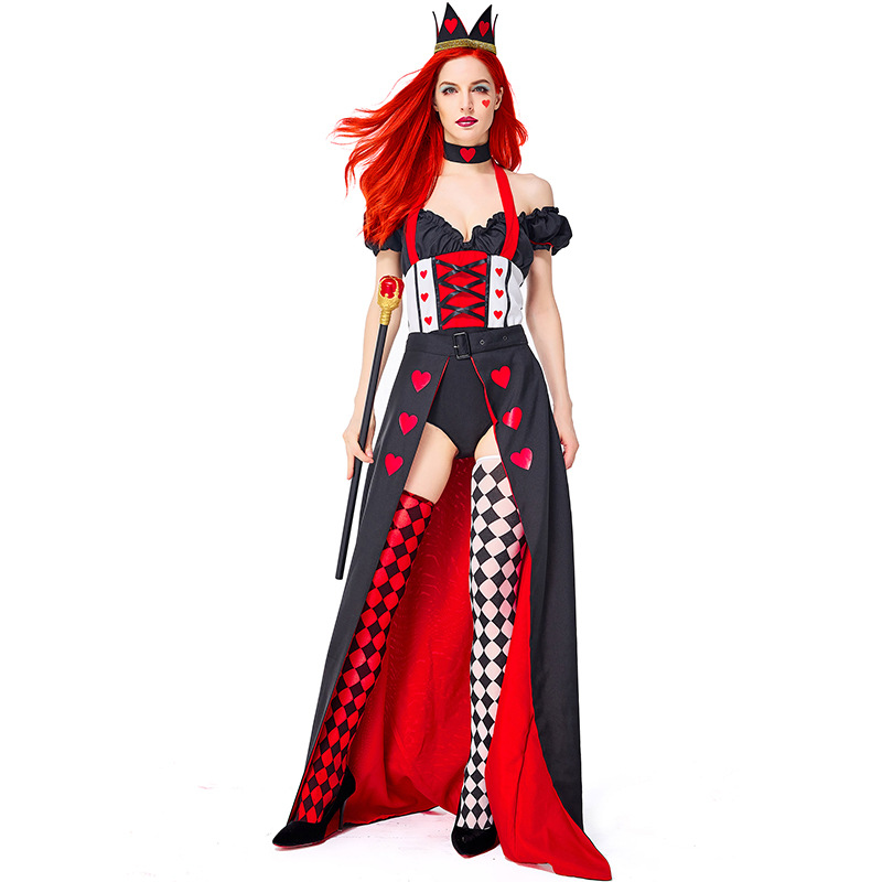 Adult Woman Alice In Wonderland Storybook Queen Of Hearts Costume Cosplay Carnival Halloween Party Poker Queen Dress