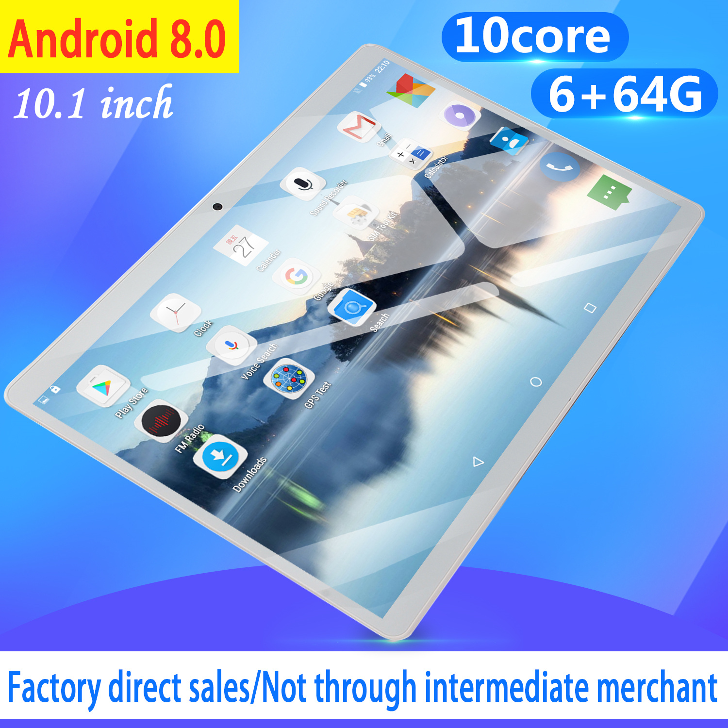 10.1 Inch 4G LTE Tablet MT8752 Octa Core 6GB RAM 64GB ROM Dual SIM 5.0MP GPS Android 8.0