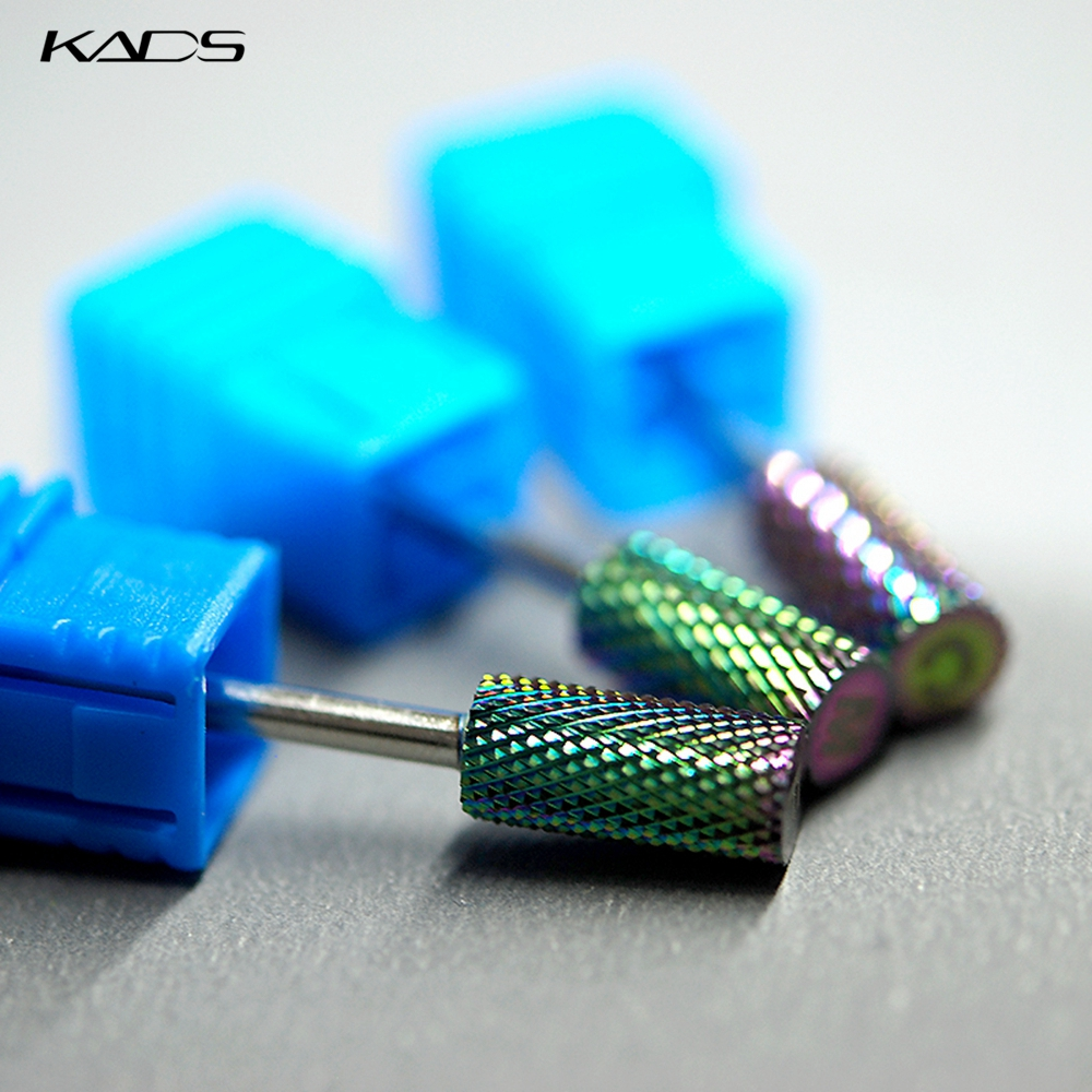 KADS Rainbow Flat Head Cylinder Alloy Nail Art Drill Bit Tungsten Steel Rotary Milling Cutter Bits Manicure Electric Nail Tools