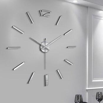 50cm 3D Wall Clock Modern Design DIY Acrylic Mirror Stickers Clock for Living Room Bedroom Home Decor Large Silent Elreloj Mural 5