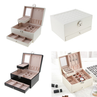 Multi layer Leather Portable Ring Necklace Holder Jewelry Storage Display Studs Case Box