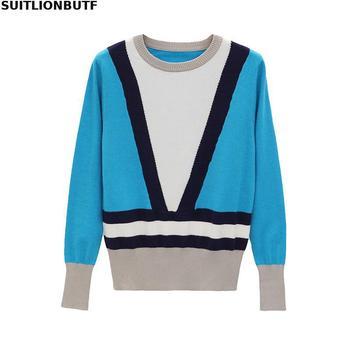 Suitlionbuff suéter de punto de mujer de Color de contraste de retazos suéter de estilo coreano corte perfecto moderno adelgazante suéter