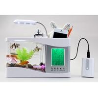 USB Desktop Mini Fish Tank Aquarium with LED Clock Table Decor Organizer VJ Drop
