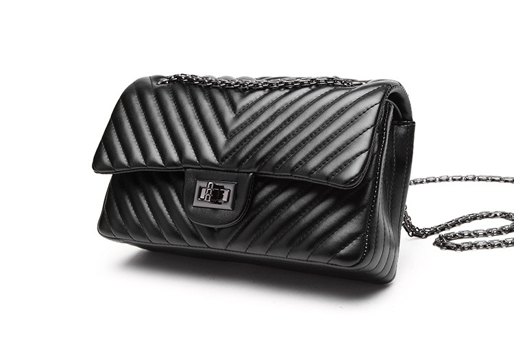 2019 Fashion Quilted Leather Chain Handbag Womens Luxury Shoulder Bags Branded Famous Black Double Flap Crossbody Bag for Women (36)