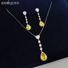 Retro gota de água topázio pedra preciosa brincos/colar 925 prata esterlina pedra preciosa noivado casamento conjunto de jóias finas para as mulheres