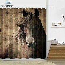 VOZRO Retro West Cowboy Boots Hat Horses Waterproof Fabric Polyester Shower Bathroom Curtain Curtains Douchegordijn Bape Pascoa west cowboy style boots hat print bath rug