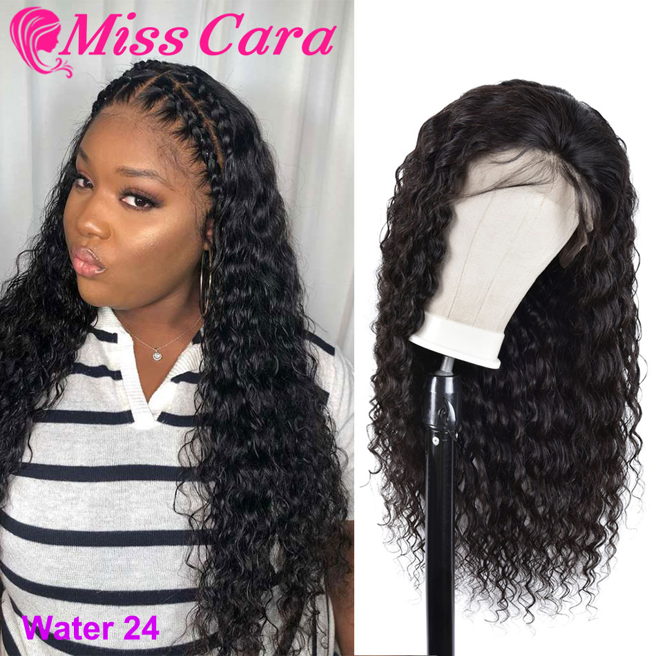 100% Human Hair Lace Frontal Wigs For Girls Brazilian Water Wave Pre-Plucked Lace Frontal Wig 150% 180% Density With Baby Hair
