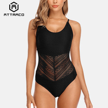 Attraco Swimsuit Swimwear Women Monokini One-piece Backless V-Neck Sexy Transparent Bathing Suit Deep-V Plunge Beachwear printed backless plunge neck swimsuit