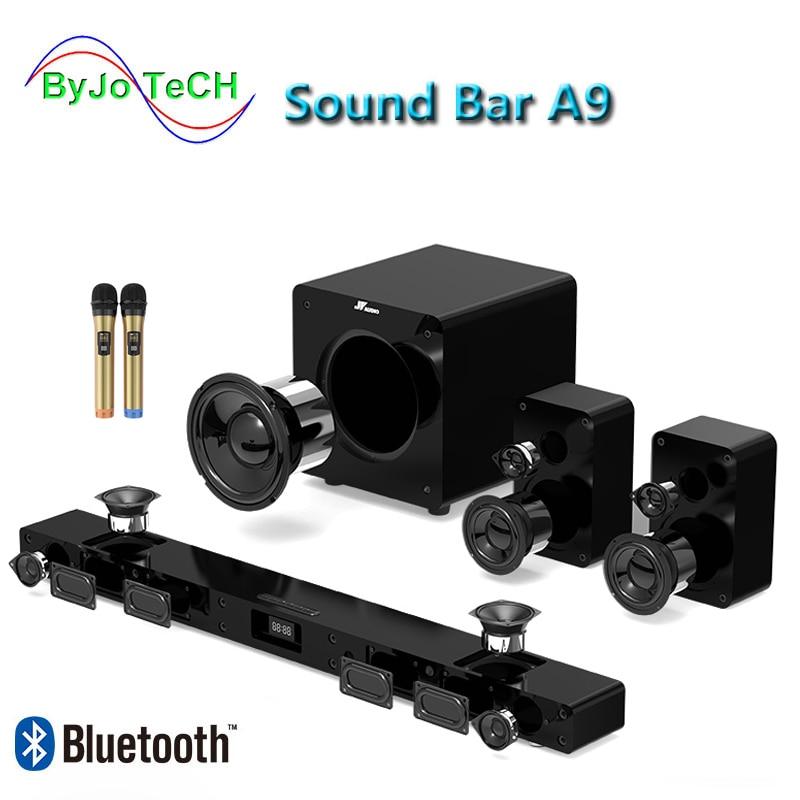 JY AUDIO A9-Barra de sonido envolvente, por Bluetooth 5,1, cine en casa con 8 altavoces integrados para cine en casa, TV con subwoofer de 8 pulgadas Altavoz portátil Bluetooth 4,0 de alta calidad, altavoz inalámbrico con soporte para tarjeta TF, USB, Radio FM, sonido grave estéreo, Subwoofer, altavoz para radiodifusión pública