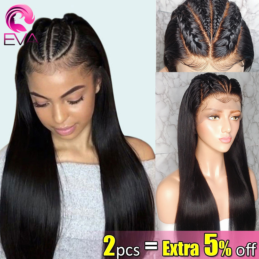 Eva Hair Fake Scalp 13x6 Straight Lace Front Human Hair Wigs Pre Plucked With Baby Hair For Black Women Brazilian Remy Hair Wigs