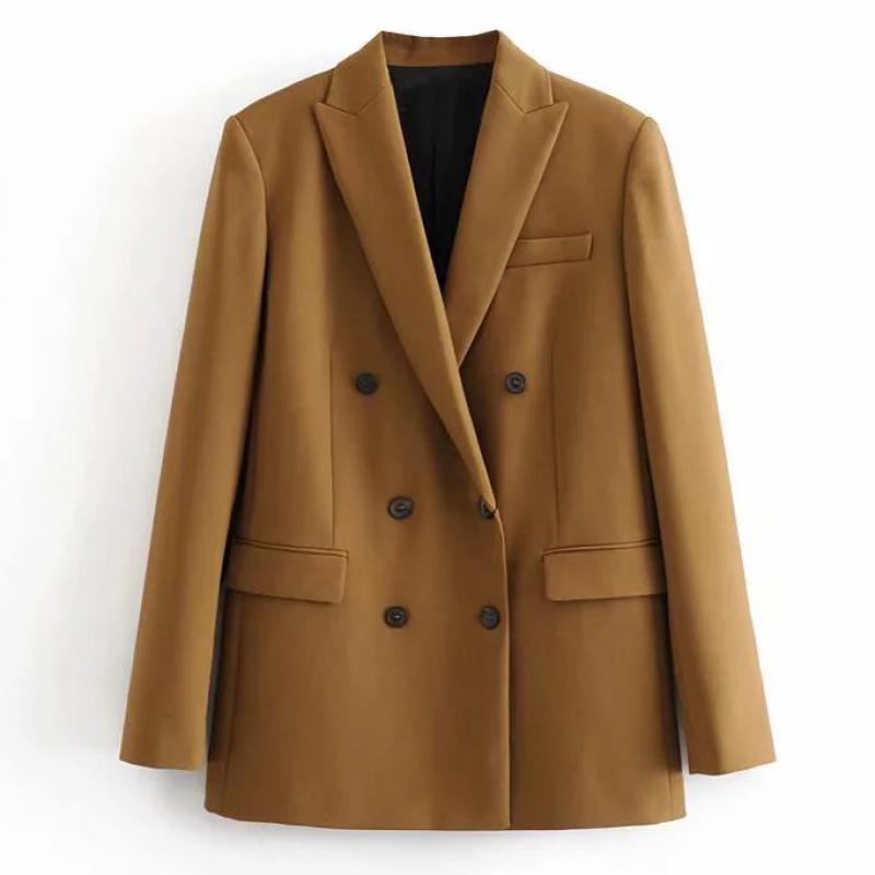 New Women Chic Coffee Blazer Pockets Double Breasted Long Sleeve Office Wear Coat Solid Female Casual Outerwear Tops T622