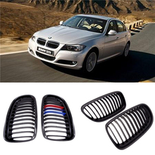 JIUWAN 1 Pair Gloss/Matte Black M-Color Kidney Front Grille Auto Racing for BMW E90 E91 LCI 325i 328i 335i 2009 2010 2011