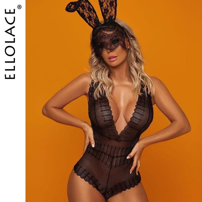 Ellolace Lace Bodysuit Women Deep-V Neck Bodys Female Sleeveless Rompers See Through Bodydoll Black Transparent Sexy Bodysuits