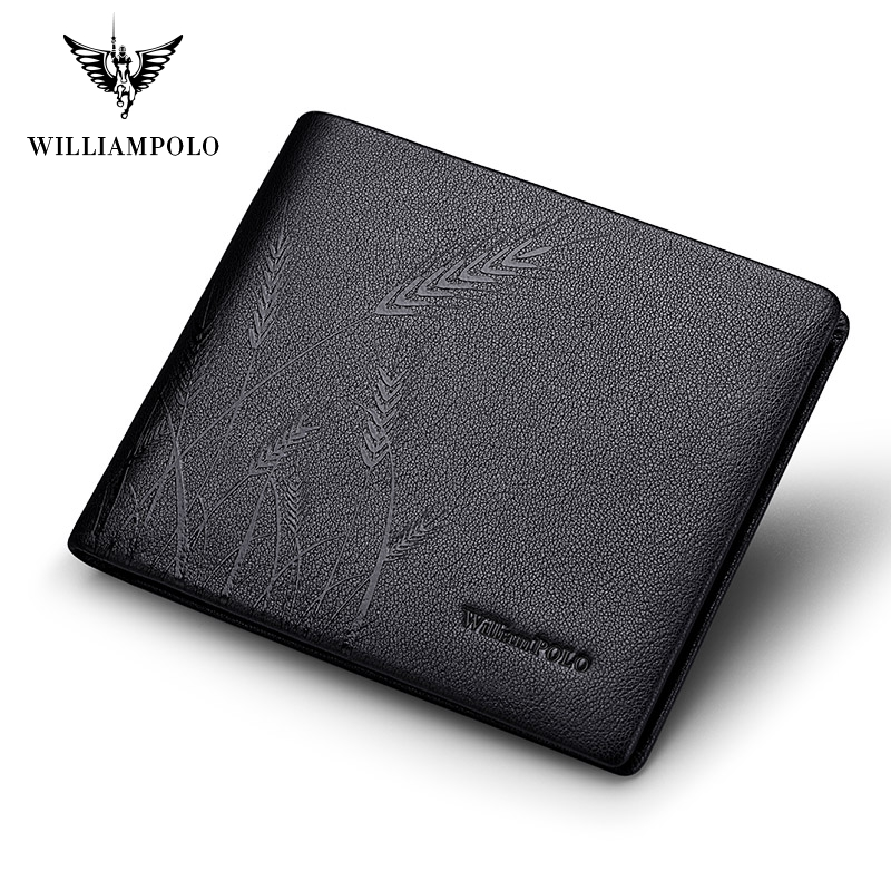 Williampolo Genuine Leather Wallet Fashion Bifold Men Wallet Casual Solid Cowskin Leather  Purse #191422