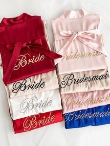 Bridesmaid Kimono Dress Sleepwear Bathrobe Rayon Wedding-Robes Embroidery Nightshirt