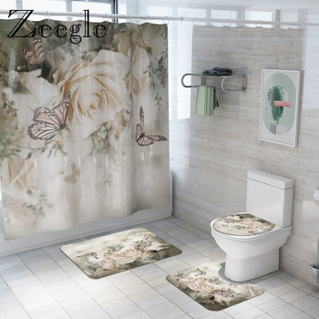Floral Bathroom Mat Set Bath Mat and Shower Curtain Set Anti-slip Shower Mat Bathroom Foot Rug Home Decoration Toilet Floor Mat bohemian floral antiskid bath rug