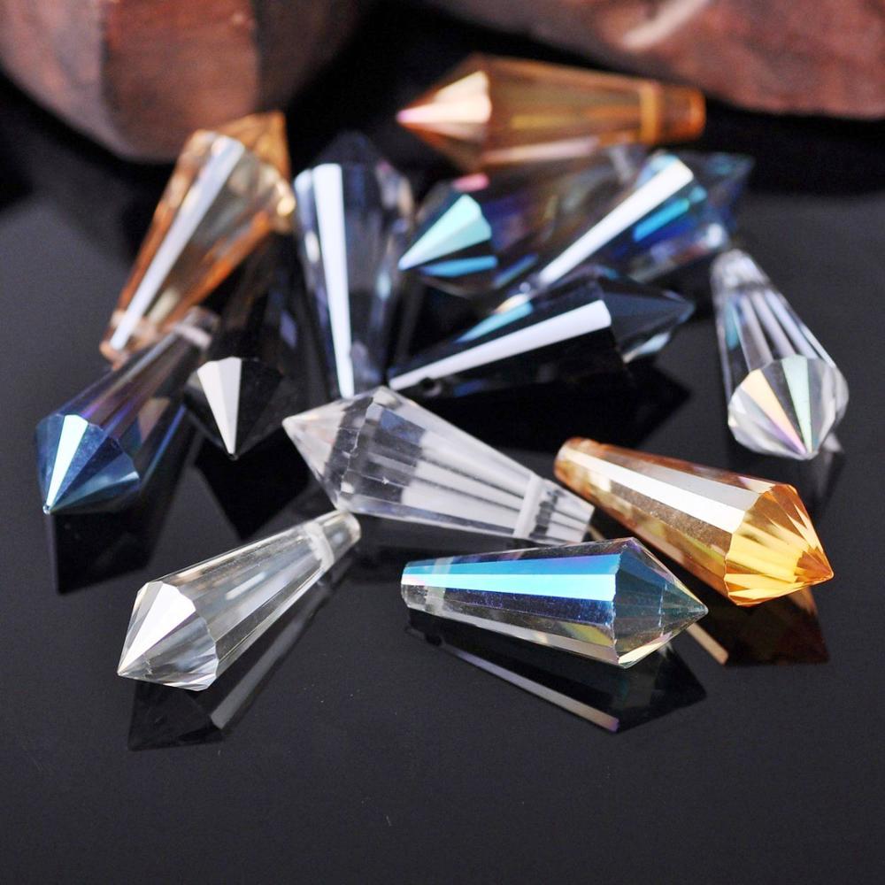 10 шт., 10x25 мм, ограненные стеклянные бусины в форме капли, для самостоятельного изготовления ювелирных изделий