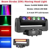 300W LED Leier Moving Head Litght 5X40W RGBW Strahl + 250X0,2 W RGB Strobe bühne Beleuchtung Für Dj Disco Nachtclub Licht Party Laser