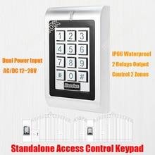 AC DC 12 V-28 V Водонепроницаемый двойной реле Клавиатура Доступа Автономный IP66 открытый механизм открывания двери клавиатура 125 кГц карточке бесконтактного считывания