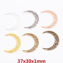 30 peças de metal retro liga de zinco lua pingente para DIY artesanal colar jewelry making 6365