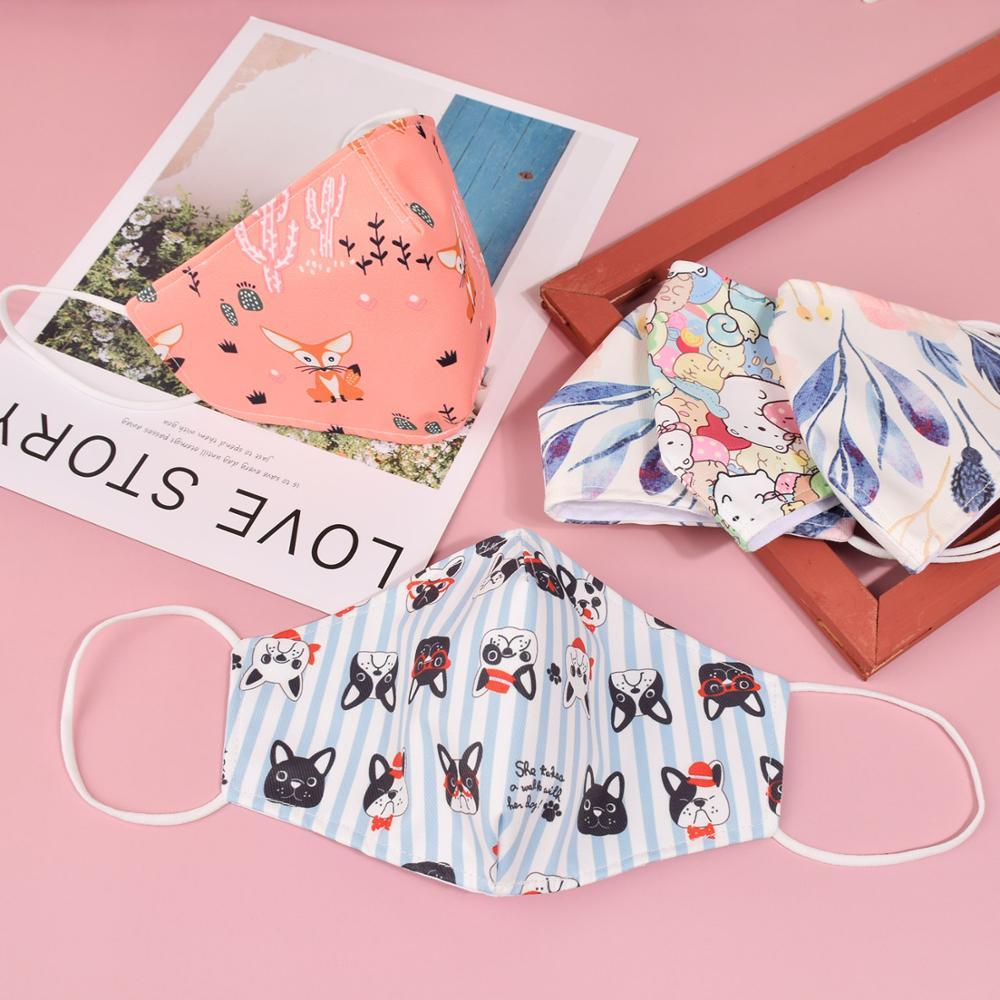 1 шт. противопылевая маска для лица с карманом, многоразовая дышащая хлопковая Защитная детская Милая маска для лица с принтом для детей 3-12 л...