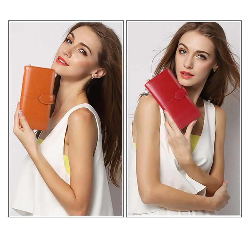 Cartera de mujer bolso de embrague de gran capacidad Cartera de cremallera larga multi-función Paquete de Tarjetas monedero rojo de las mujeres cartera delgada