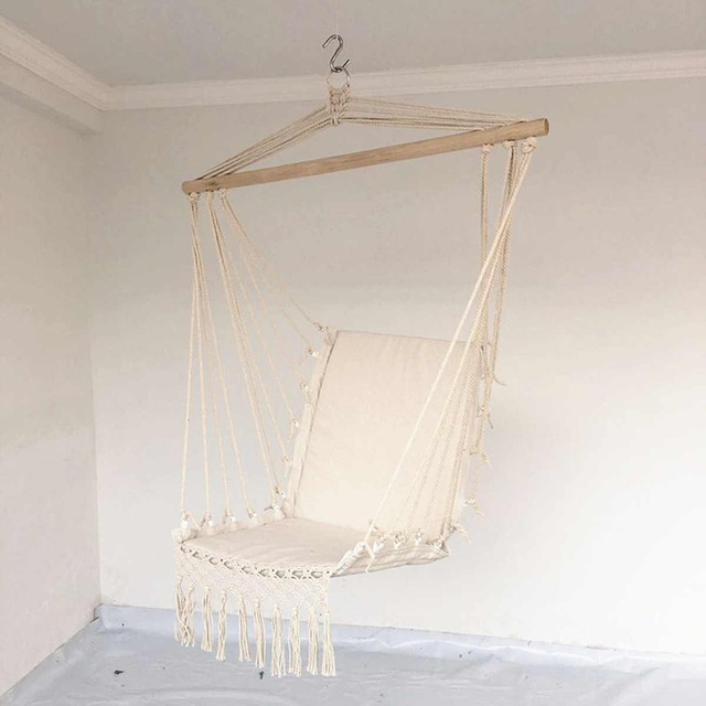 Nordic Style Home Garden Hanging Hammock Tassel Hammock Chair Outdoor Indoor Dormitory Swing Hanging Chair with Wooden Rod 6