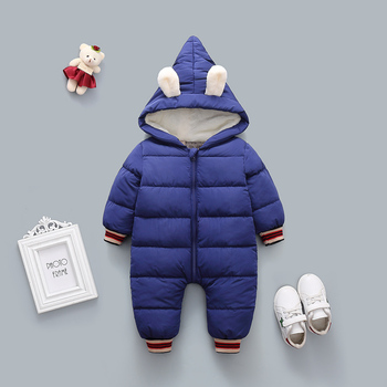Baby Rompers Winter Hooded Warm Jumpsuit Newborn Baby Boys Girl Cotton Clothes Kids Thicken Rompers Infant Onesie Costume winter newborn rompers baby girls boys cotton infant hooded warm overalls clothes kids high quality cartoon jumpsuit outerwear