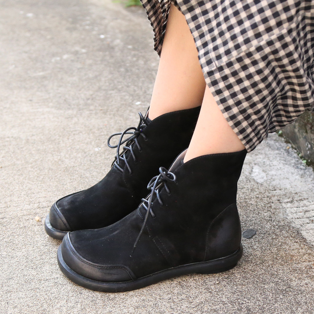 Women's Genuine Leather Round Toe Ankle Boots