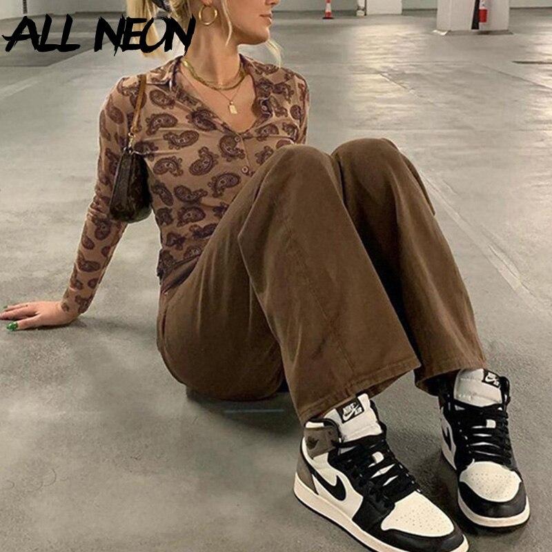 ALLNeon Винтаж Y2K футболка с длинным рукавом с принтом в стиле 90-х сохранения внешнего вида с отложным воротником однобортные Топы