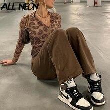 ALLNeon – t-shirt à manches longues avec impression Y2K, Streetwear, Vintage, esthétique des années 90, col rabattu, boutonnage simple, café