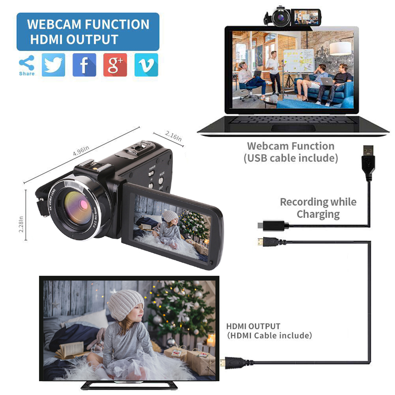 KOMERY nouveautés 4K 48MP caméra vidéo 3.0 en HD écran tactile/Vision nocturne/Wifi Microphone externe/Flash/sortie HDMI/infrarouge - 6