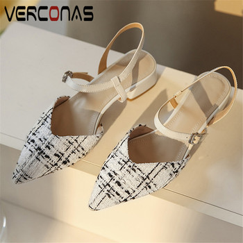 VERCONAS 2020 Fashion Woman Sandals Woman Pumps Brand Design Ankle Strap Office Lady  Pointed Toe Square High Heeled Shoes Woman