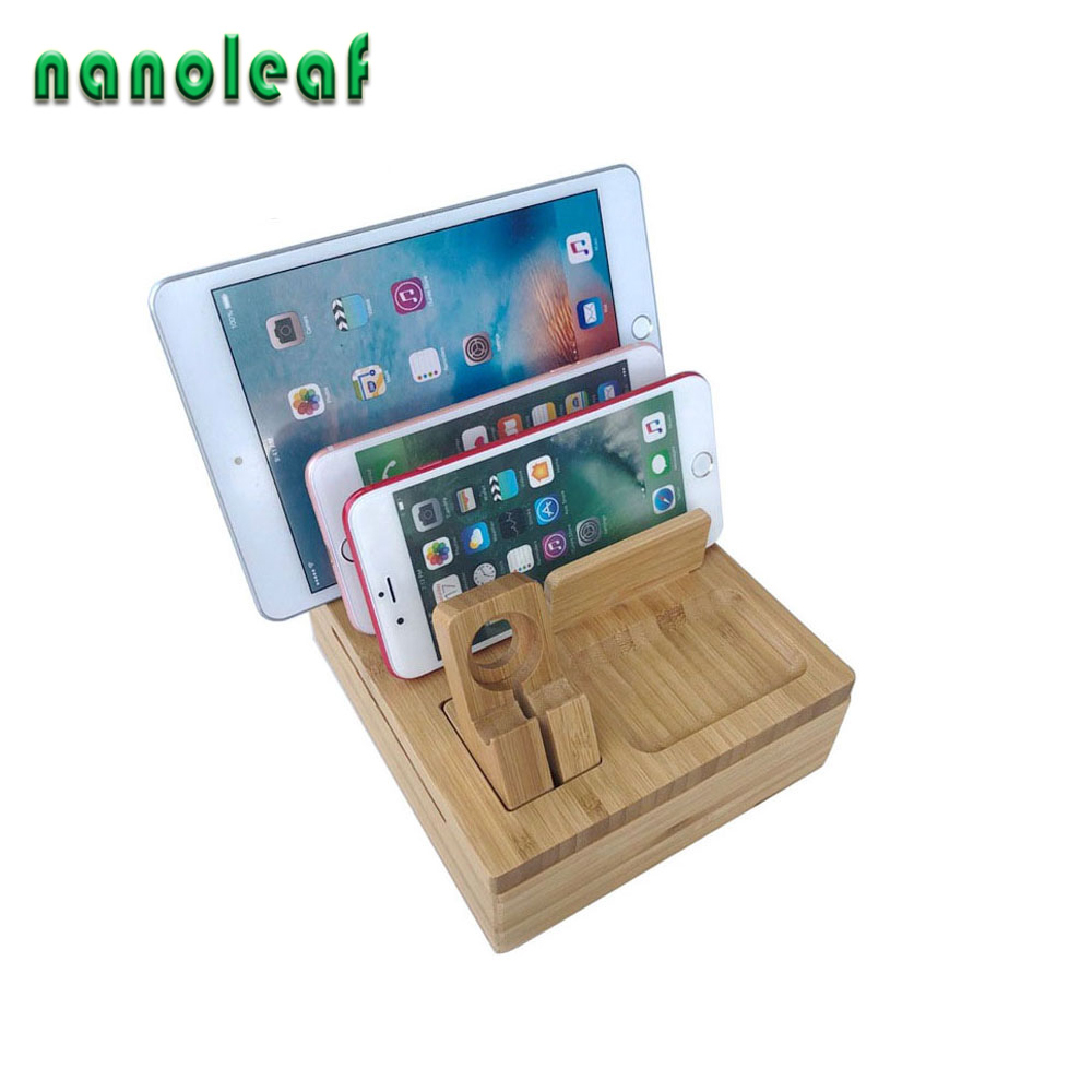 High Quality Universal Bamboo Wooden Charging Dock Station Mobile Phone Stand Charger Holder Storage Table