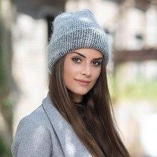 Hat Cap Knitted-Hats Rabbit-Fur Winter Women New for Unisex Skullies Keep-Warm Wool-Cap
