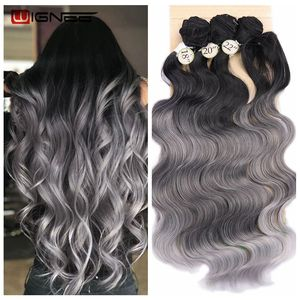Image 1 - Wignee 3 Bundles With Closure Synthetic Hair Extensions For Women Natural Black Hair To Grey/Purple/Green/Blue Wavy Hair Piece