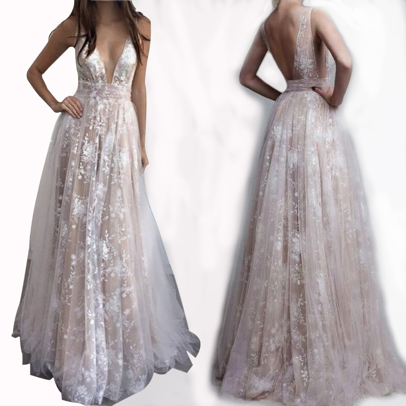 Lace Deep V <font><b>Dress</b></font> Mayata Shinning Banquet Party <font><b>Dress</b></font> <font><b>Lady</b></font> High Split Sequined Mesh <font><b>Dress</b></font> Evening Floor Length <font><b>Dress</b></font> image