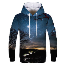 Hot Fashion Men/Women 3D Sweatshirts Print Flashing starry sky Galaxy Hooded Hoodies Unisex pullover Tops Wholesale and retail(China)