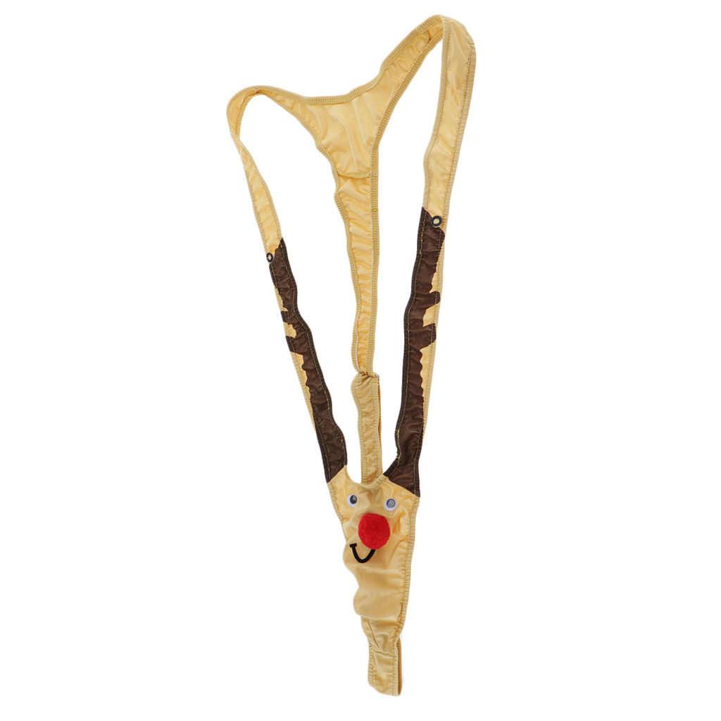 Męskie reniferowe podkoszulek Mankini Body stringi bielizna szelki motyw świąteczny bielizna nocna odzież klubowa