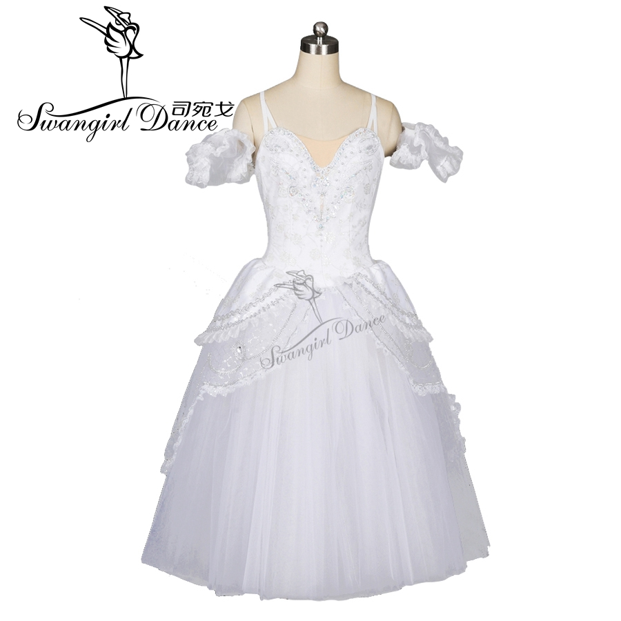 bílé labutí jezero romantický balet tutu šaty dívky Giselle balerína šaty ženy zlaté baletní kostým pro dospělé BT8902