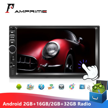 AMPrime Android Car Radio Autoradio 7 2 Din 2GB+ROM/2GB+32GB Multimedia Player Stereo MirrorLink 2din Cassette Recorder image