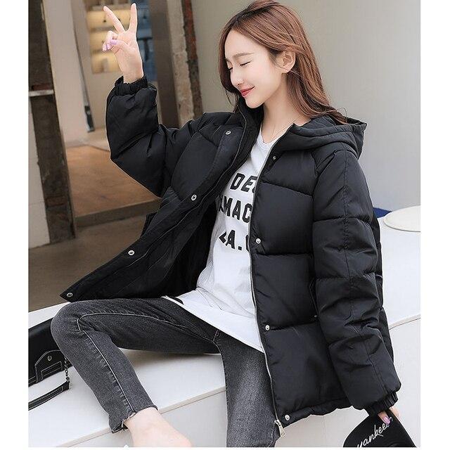 2021 New Short Winter Jacket Women Oversize Parka Coat Warm Thick Cotton Coat Loose Hooded Padded Women Winter Jacket 6