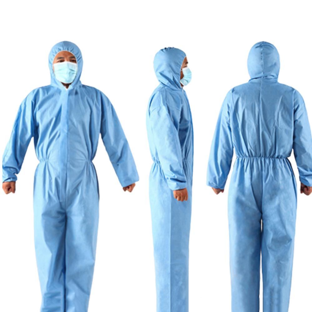 Unisex Disposable Non Woven Zip Isolation Gown Overall Coverall Protective Suit Waterproof Dustproof Overalls Safety Clothing
