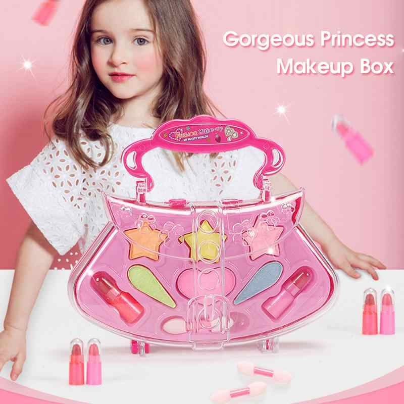 Sicher Prinzessin Mädchen Make-Up Kinder Kosmetik Make Up Set Schönheit Make-Up Box Baby Geschenk Spielzeug Für Mädchen Geburtstag Pretend Spielen