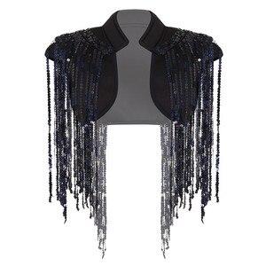 Image 3 - ファッションレディースオープンフロントスパークルロングスパンコールタッセルショート丈ベストナイトクラブチョッキヒップ着用カバーアップラップ