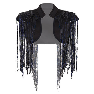 Image 3 - Fashion Womens Open Voor Sparkle Lange Sequin Kwasten Korte Cropped Vest Nachtclub Vest Hip Hop Dance Wear Cover Up wrap