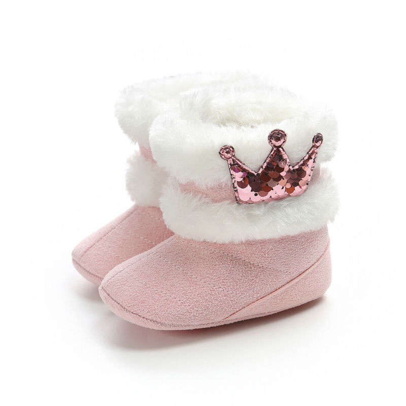2019 New Baby Shoes Toddler Baby Girl Crown Shoes Soft Crib Sole Shoes Newborn Sequin Crown Fuzzy Winter Warm Boots