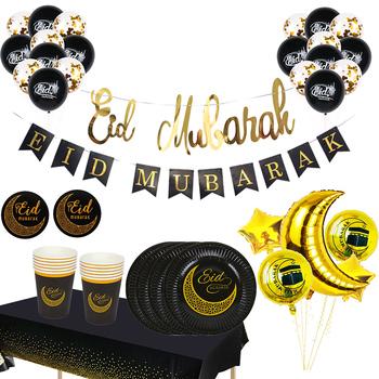 Ramadan Kareem dekoracje Eid Mubarak Banner balony jednorazowe zastawy stołowe zestaw Ramadan Mubarak muzułmański islamski dekoracje świąteczne tanie i dobre opinie WEIGAO CN (pochodzenie) litera Star Tektura Id al-Fitr Na imprezę as photo shows gold black Event Party Banner EID MU BARAK Party Supplies